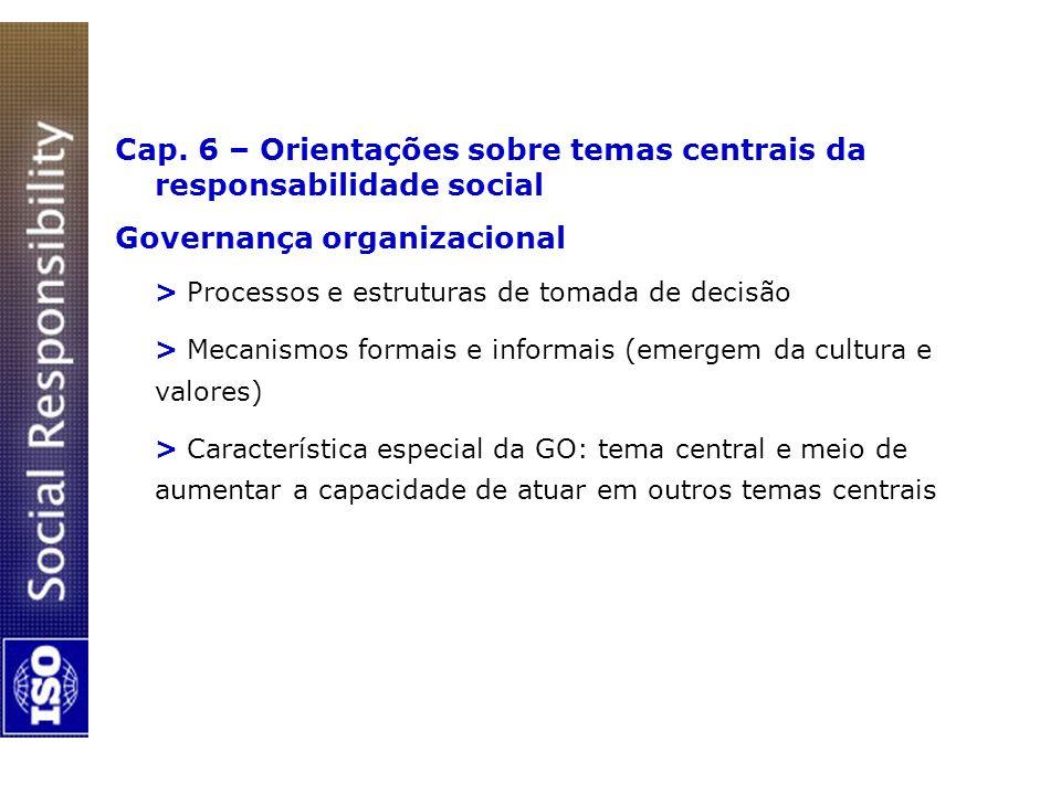 Cap. 6 – Orientações sobre temas centrais da responsabilidade social Governança organizacional > Processos e estruturas de tomada de decisão > Mecanis