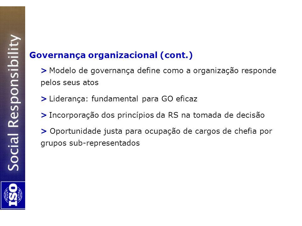 Governança organizacional (cont.) > Modelo de governança define como a organização responde pelos seus atos > Liderança: fundamental para GO eficaz >