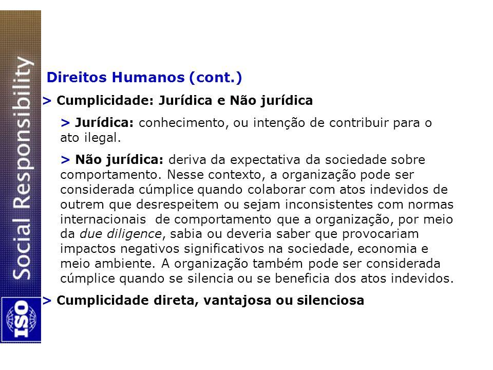 Direitos Humanos (cont.) > Cumplicidade: Jurídica e Não jurídica > Jurídica: conhecimento, ou intenção de contribuir para o ato ilegal. > Não jurídica
