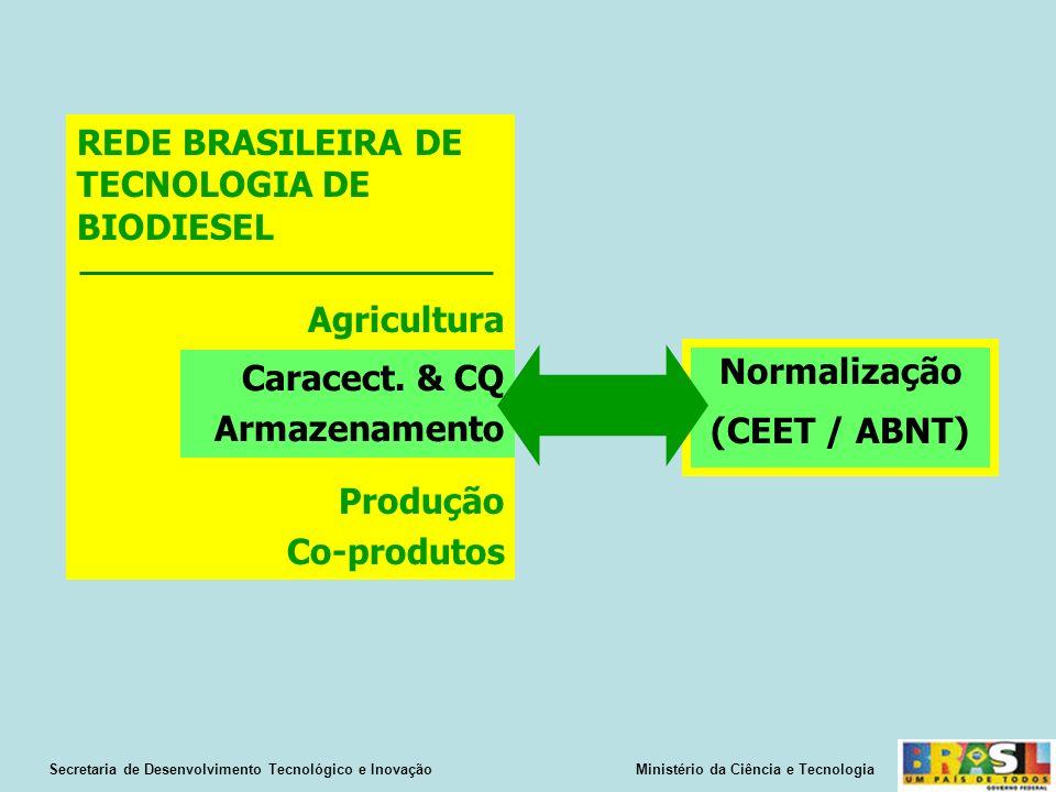 Normalização (CEET / ABNT) Secretaria de Desenvolvimento Tecnológico e Inovação Ministério da Ciência e Tecnologia REDE BRASILEIRA DE TECNOLOGIA DE BIODIESEL Agricultura Produção Co-produtos Caracect.
