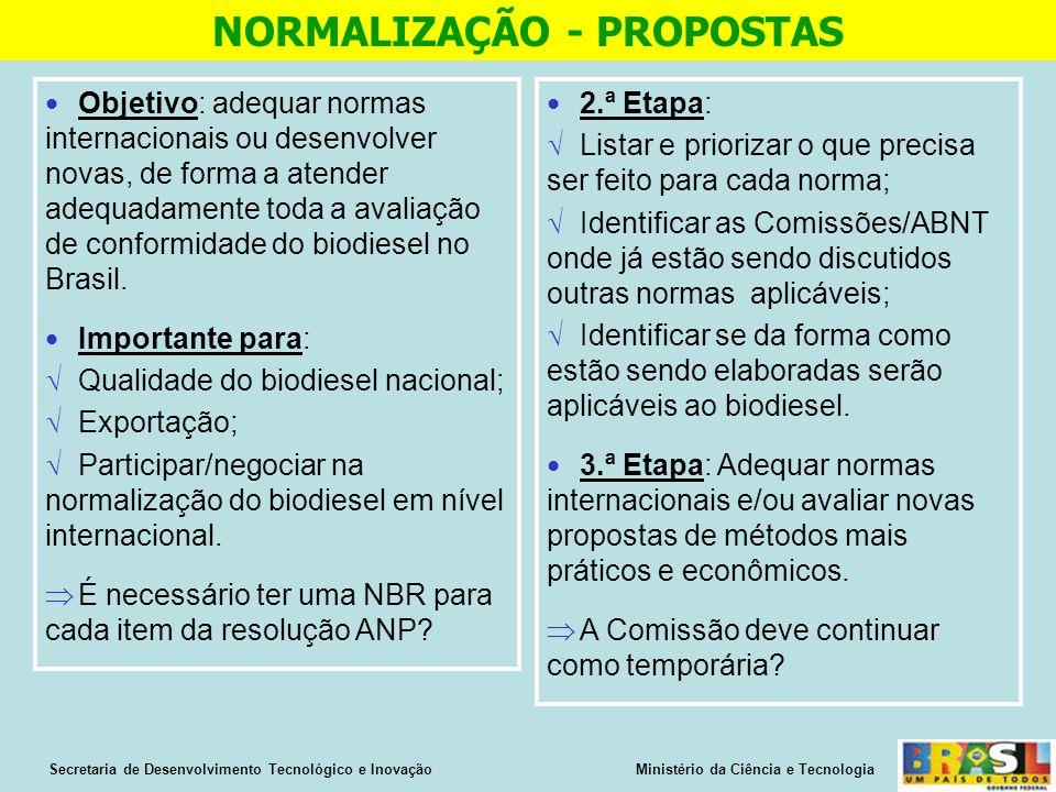 Objetivo: adequar normas internacionais ou desenvolver novas, de forma a atender adequadamente toda a avaliação de conformidade do biodiesel no Brasil.