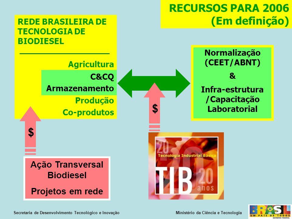 Normalização (CEET/ABNT) & Infra-estrutura /Capacitação Laboratorial Secretaria de Desenvolvimento Tecnológico e Inovação Ministério da Ciência e Tecnologia REDE BRASILEIRA DE TECNOLOGIA DE BIODIESEL Agricultura Produção Co-produtos C&CQ Armazenamento $ RECURSOS PARA 2006 (Em definição) Ação Transversal Biodiesel Projetos em rede $