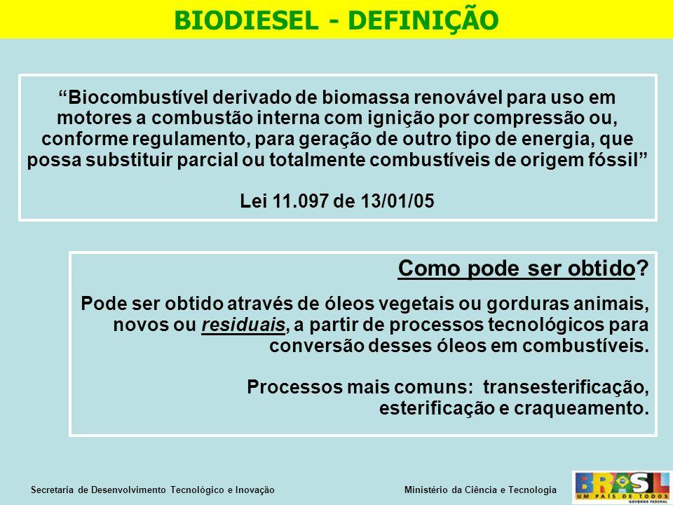 Biocombustível derivado de biomassa renovável para uso em motores a combustão interna com ignição por compressão ou, conforme regulamento, para geração de outro tipo de energia, que possa substituir parcial ou totalmente combustíveis de origem fóssil Lei 11.097 de 13/01/05 BIODIESEL - DEFINIÇÃO Secretaria de Desenvolvimento Tecnológico e Inovação Ministério da Ciência e Tecnologia Como pode ser obtido.