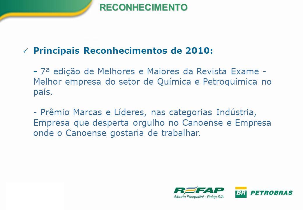 Principais Reconhecimentos de 2010: - 7ª edição de Melhores e Maiores da Revista Exame - Melhor empresa do setor de Química e Petroquímica no país. -