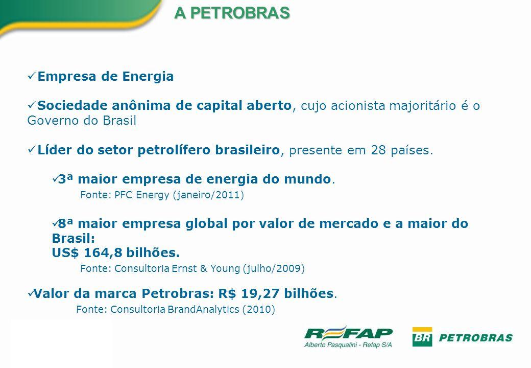 U$$ 224 bilhões em Investimentos (previstos para o período 2010-2014) Receita Líquida de R$ 156,5 bilhões (2010) Lucro Líquido de R$ R$ 35,2 bilhões (2010) Produção média de 2.583.200 barris por dia (dos quais 428.000 barris de gás natural) (2010) 14,90 bilhões de barris de óleo e gás equivalente em Reservas 133 Plataformas de Produção (86 fixas e 47 flutuantes) NÚMEROS DA PETROBRAS 15 Refinarias = 2.034.000 barris de derivados por dia 172 Navios na Frota (52 de propriedade da Petrobras) 5 Usinas de Biocombustíveis (3 de produção e 2 experimentais) 18 Usinas Termelétricas 1 Unidade Piloto de Energia Eólica 8 Mil Postos de Combustível 2 Fábricas de Fertilizantes