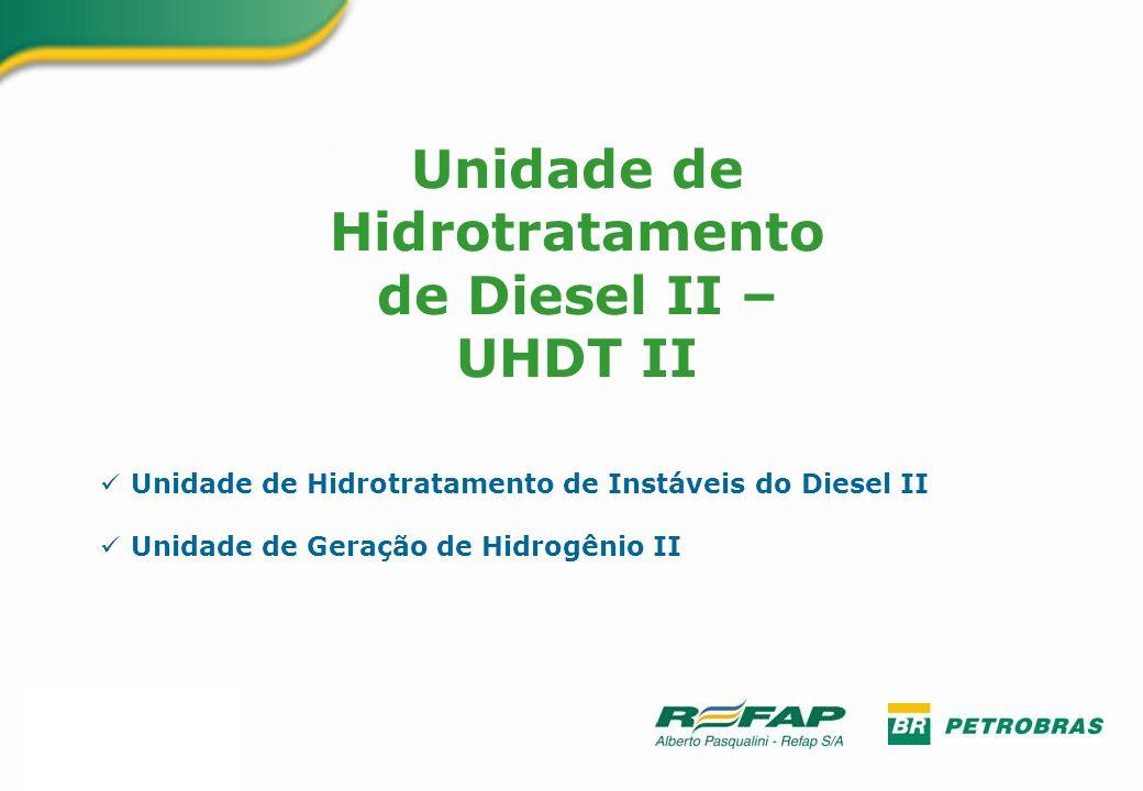 Unidade de Hidrotratamento de Instáveis do Diesel II Unidade de Geração de Hidrogênio II Unidade de Hidrotratamento de Diesel II – UHDT II
