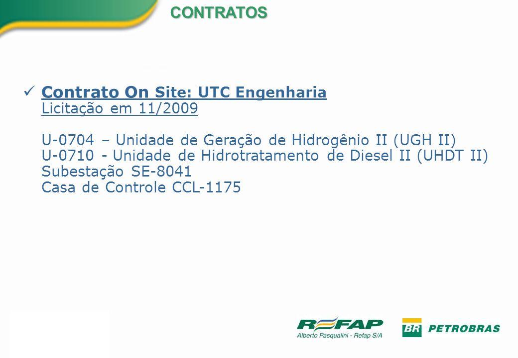 Contrato On Site: UTC Engenharia Licitação em 11/2009 U-0704 – Unidade de Geração de Hidrogênio II (UGH II) U-0710 - Unidade de Hidrotratamento de Die