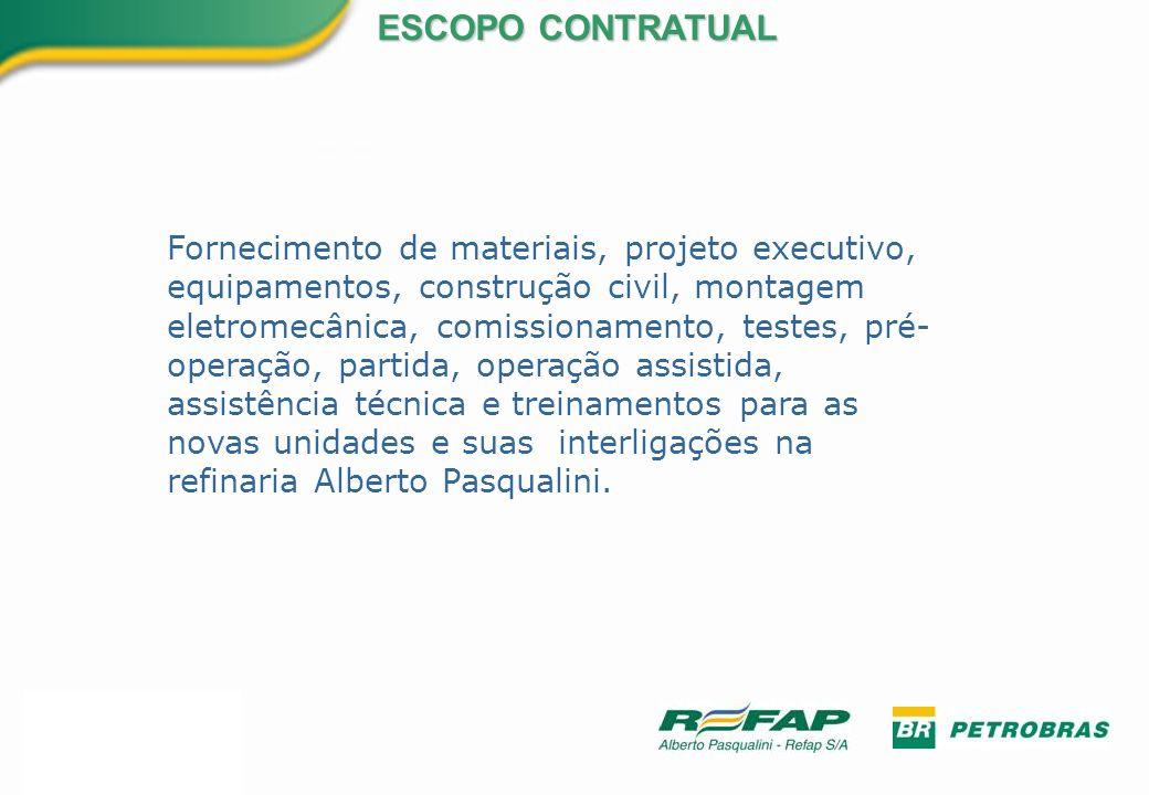 Fornecimento de materiais, projeto executivo, equipamentos, construção civil, montagem eletromecânica, comissionamento, testes, pré- operação, partida