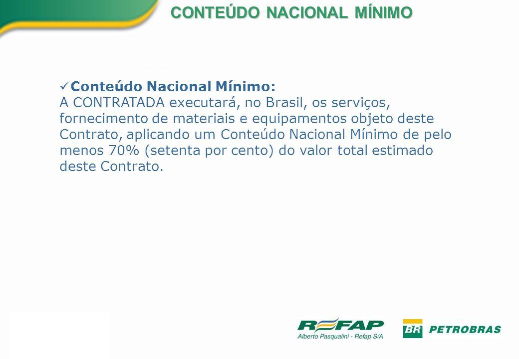 Conteúdo Nacional Mínimo: A CONTRATADA executará, no Brasil, os serviços, fornecimento de materiais e equipamentos objeto deste Contrato, aplicando um