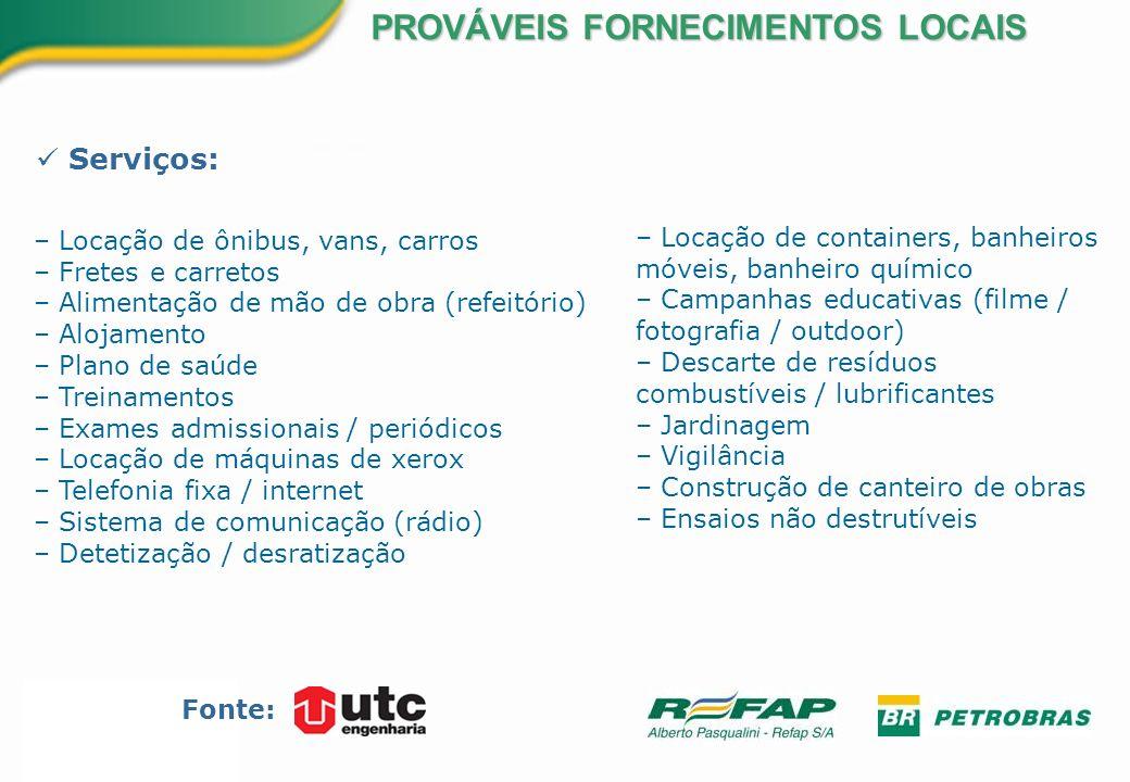 Serviços: PROVÁVEIS FORNECIMENTOS LOCAIS Fonte: – Locação de containers, banheiros móveis, banheiro químico – Campanhas educativas (filme / fotografia