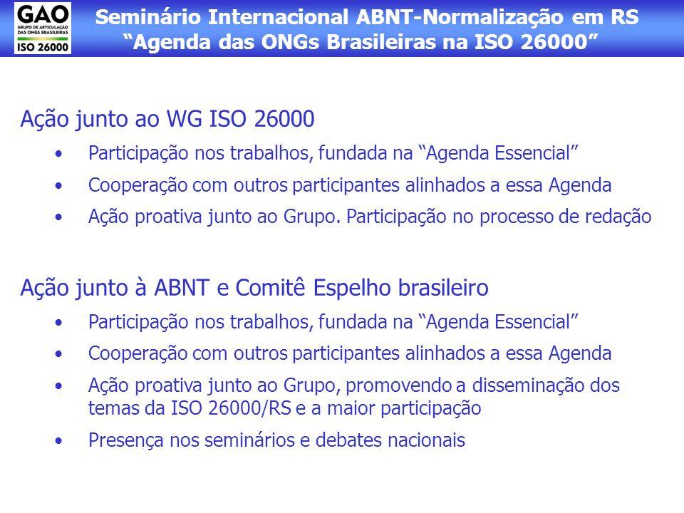Seminário Internacional ABNT-Normalização em RS Agenda das ONGs Brasileiras na ISO 26000 Ação junto ao WG ISO 26000 Participação nos trabalhos, fundad