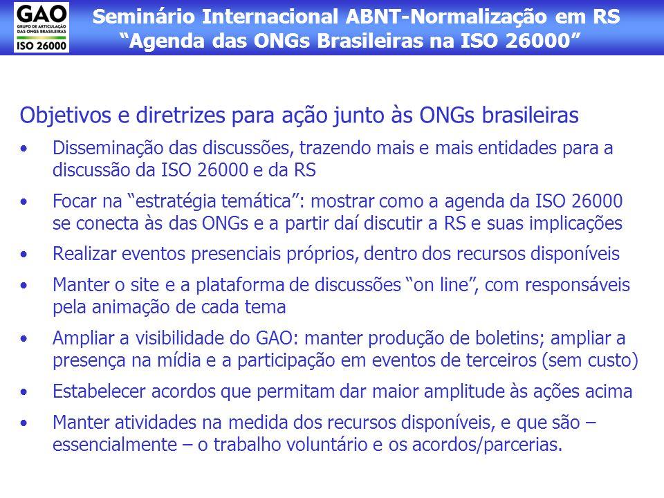 Seminário Internacional ABNT-Normalização em RS Agenda das ONGs Brasileiras na ISO 26000 Objetivos e diretrizes para ação junto às ONGs brasileiras Di