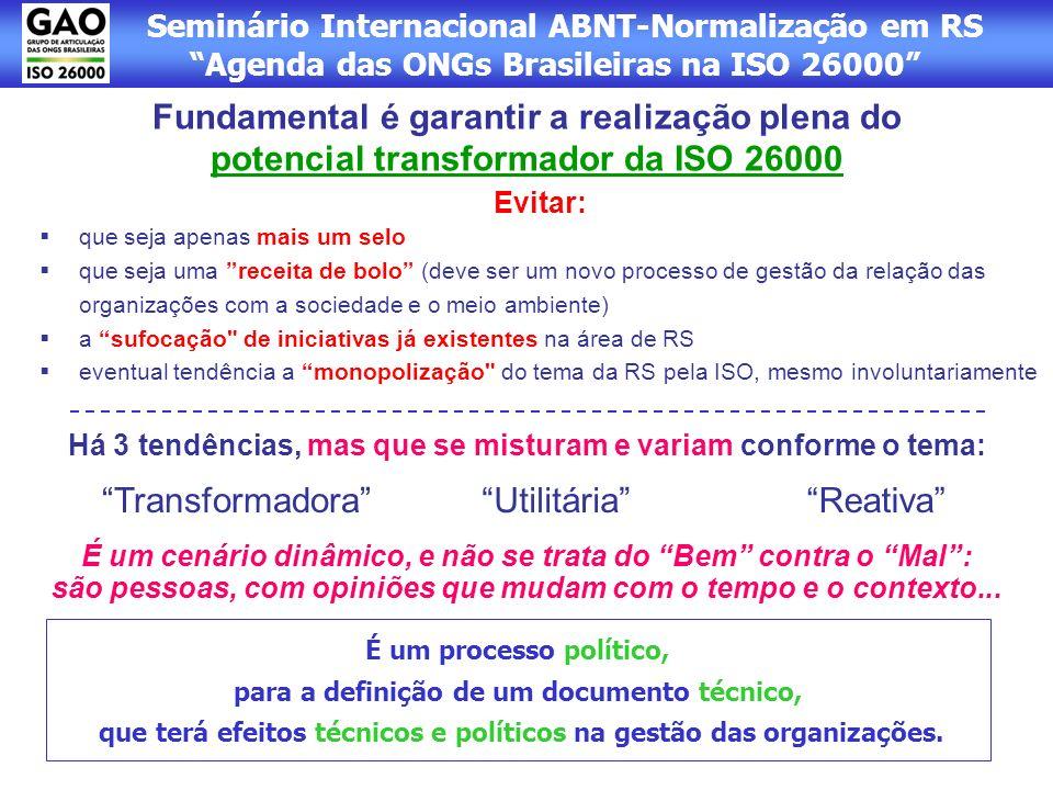 Seminário Internacional ABNT-Normalização em RS Agenda das ONGs Brasileiras na ISO 26000 Evitar: que seja apenas mais um selo que seja uma receita de