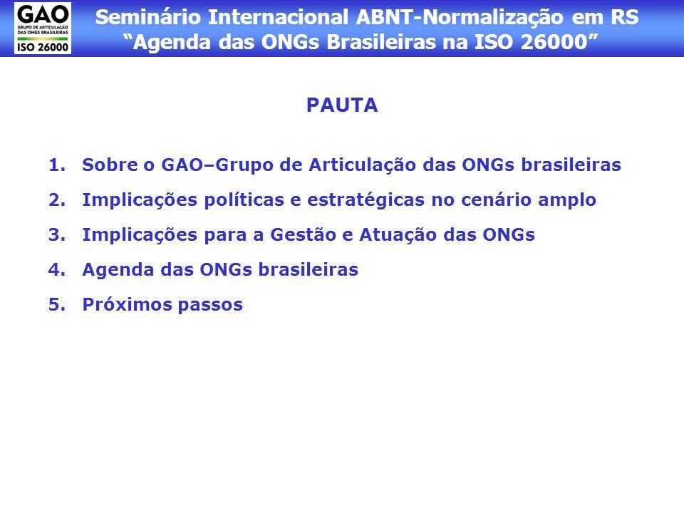 Seminário Internacional ABNT-Normalização em RS Agenda das ONGs Brasileiras na ISO 26000 PAUTA 1.Sobre o GAO–Grupo de Articulação das ONGs brasileiras