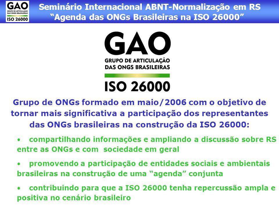 Seminário Internacional ABNT-Normalização em RS Agenda das ONGs Brasileiras na ISO 26000 Grupo de ONGs formado em maio/2006 com o objetivo de tornar m