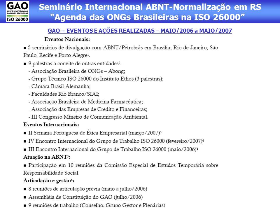 Seminário Internacional ABNT-Normalização em RS Agenda das ONGs Brasileiras na ISO 26000 GAO – EVENTOS E AÇÕES REALIZADAS – MAIO/2006 a MAIO/2007