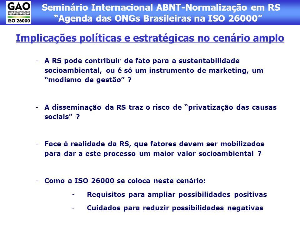 Seminário Internacional ABNT-Normalização em RS Agenda das ONGs Brasileiras na ISO 26000 Implicações para a Gestão e Atuação das ONGs - Estabelecimento de referências de gestão cobráveis também das próprias ONGs.