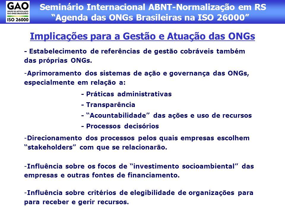 Seminário Internacional ABNT-Normalização em RS Agenda das ONGs Brasileiras na ISO 26000 Implicações para a Gestão e Atuação das ONGs - Estabeleciment