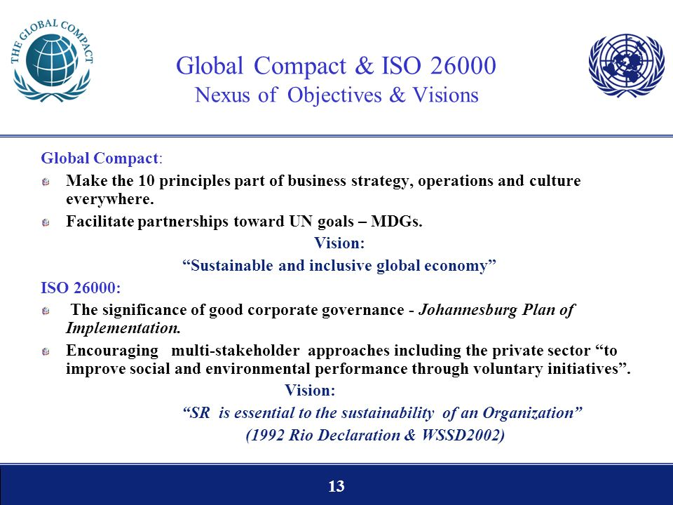 13 Global Compact & ISO 26000 Nexus of Objectives & Visions Global Compact: Make the 10 principles part of business strategy, operations and culture e