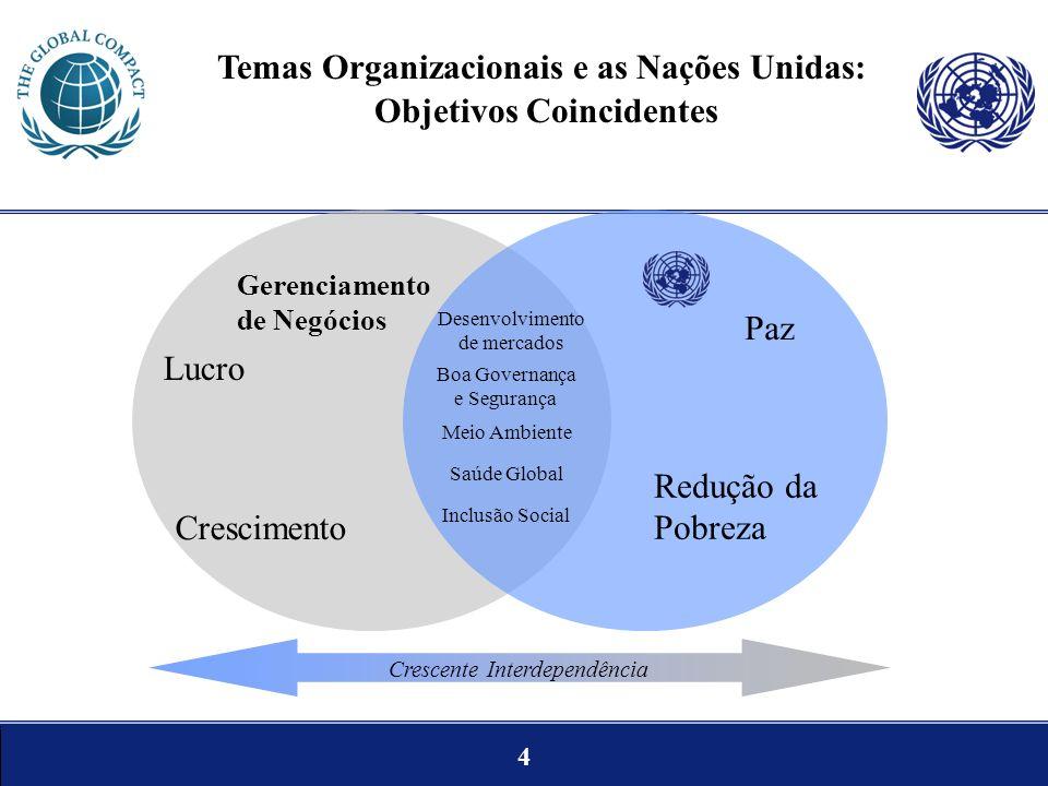 4 Temas Organizacionais e as Nações Unidas: Objetivos Coincidentes Desenvolvimento de mercados Boa Governança e Segurança Meio Ambiente Paz Redução da