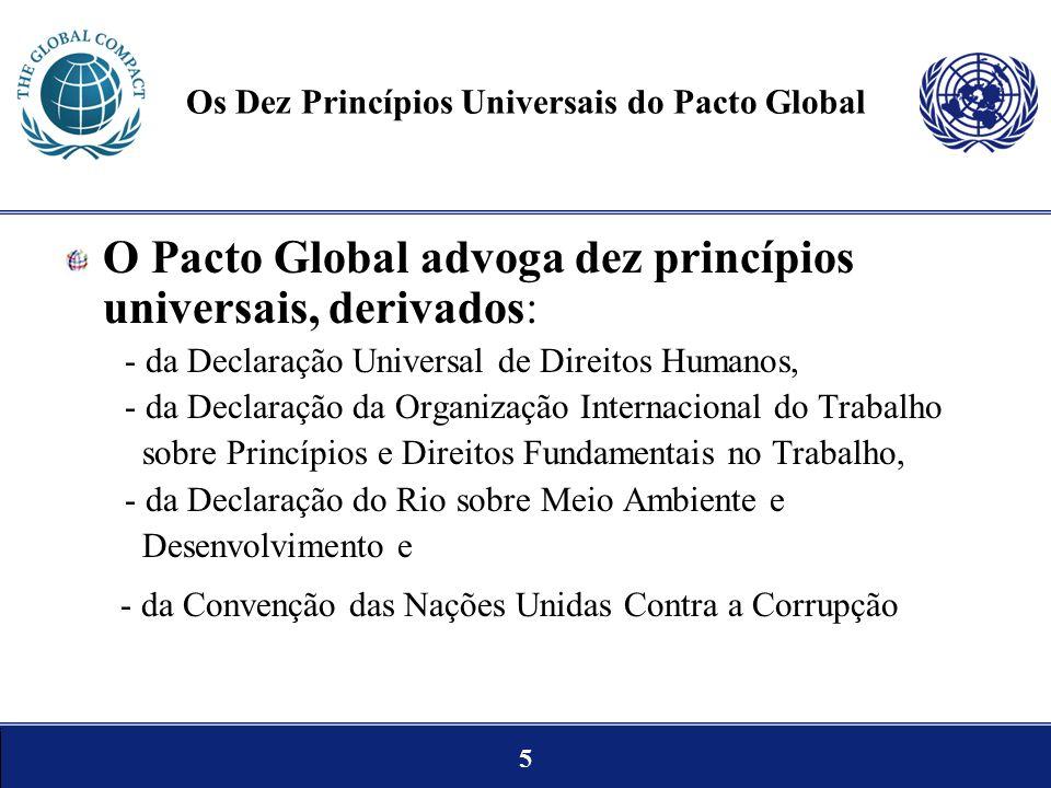 5 Os Dez Princípios Universais do Pacto Global O Pacto Global advoga dez princípios universais, derivados: - da Declaração Universal de Direitos Human