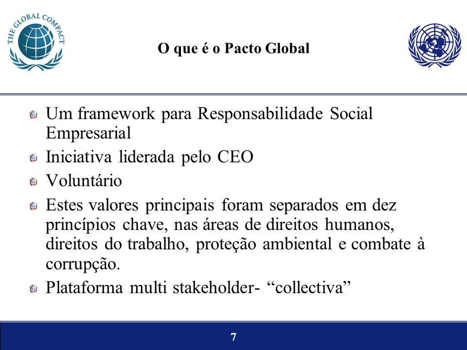 7 O que é o Pacto Global Um framework para Responsabilidade Social Empresarial Iniciativa liderada pelo CEO Voluntário Estes valores principais foram