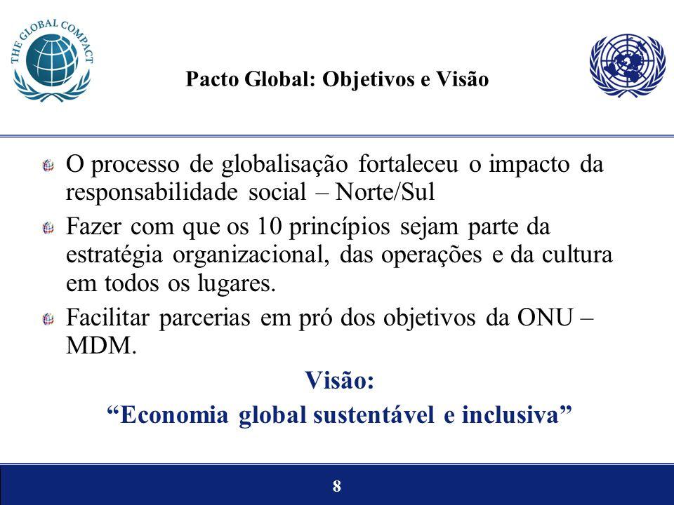 8 Pacto Global: Objetivos e Visão O processo de globalisação fortaleceu o impacto da responsabilidade social – Norte/Sul Fazer com que os 10 princípio