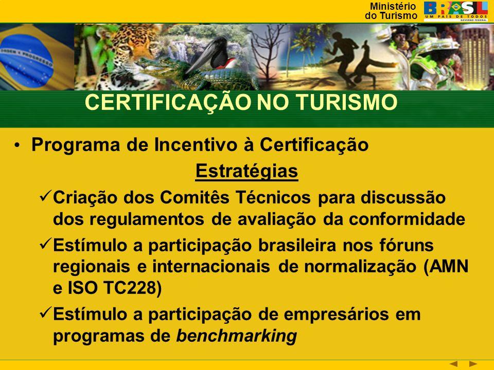 Ministério do Turismo Programa de Incentivo à Certificação Estratégias Criação dos Comitês Técnicos para discussão dos regulamentos de avaliação da conformidade Estímulo a participação brasileira nos fóruns regionais e internacionais de normalização (AMN e ISO TC228) Estímulo a participação de empresários em programas de benchmarking CERTIFICAÇÃO NO TURISMO