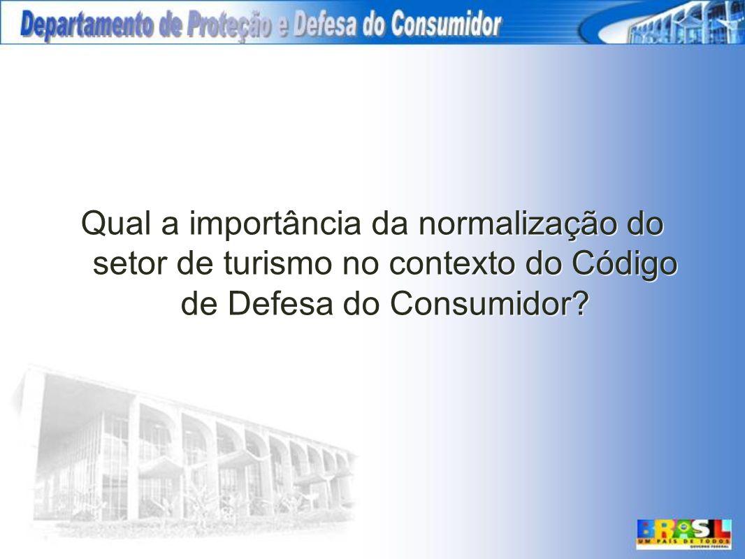 Qual a importância da normalização do setor de turismo no contexto do Código de Defesa do Consumidor?
