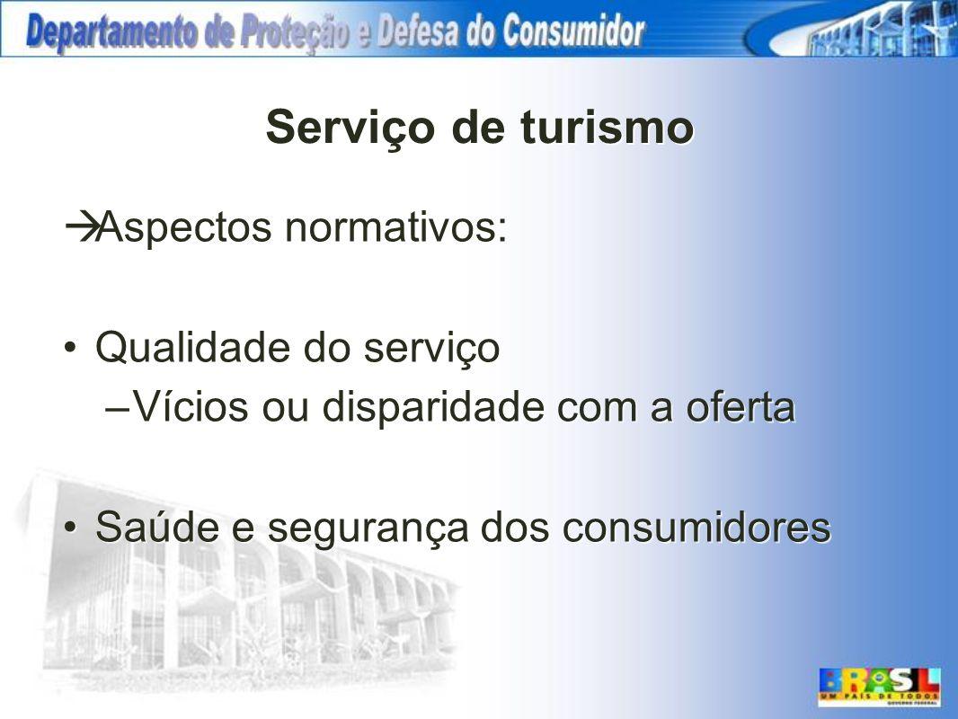 Serviço de turismo Aspectos normativos: Qualidade do serviço –Vícios ou disparidade com a oferta Saúde e segurança dos consumidores Aspectos normativo