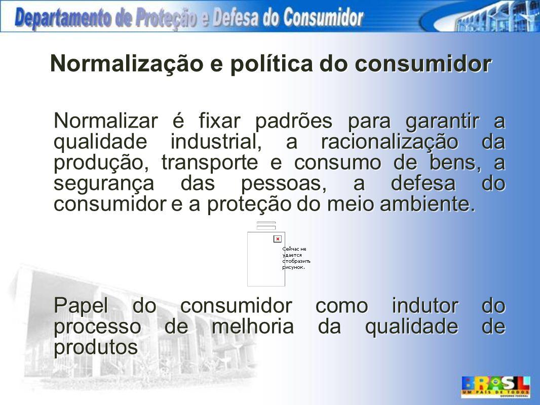Normalização e política do consumidor Normalizar é fixar padrões para garantir a qualidade industrial, a racionalização da produção, transporte e cons