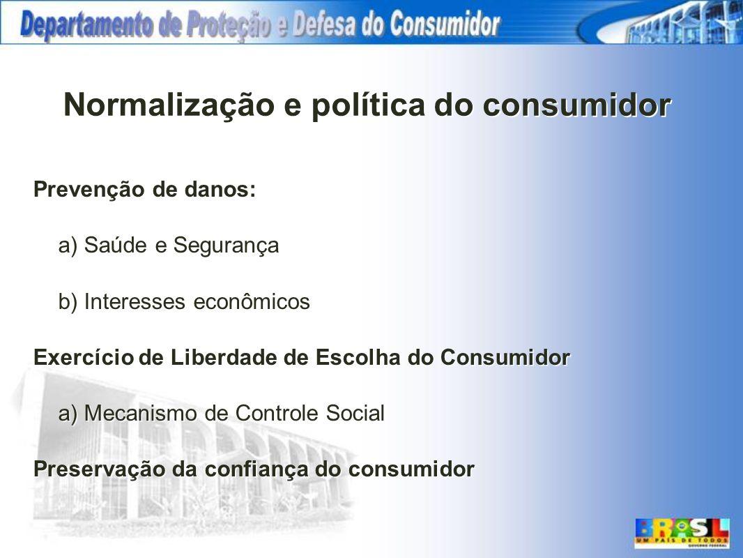 Normalização e política do consumidor Prevenção de danos: a) Saúde e Segurança b) Interesses econômicos Exercício de Liberdade de Escolha do Consumido