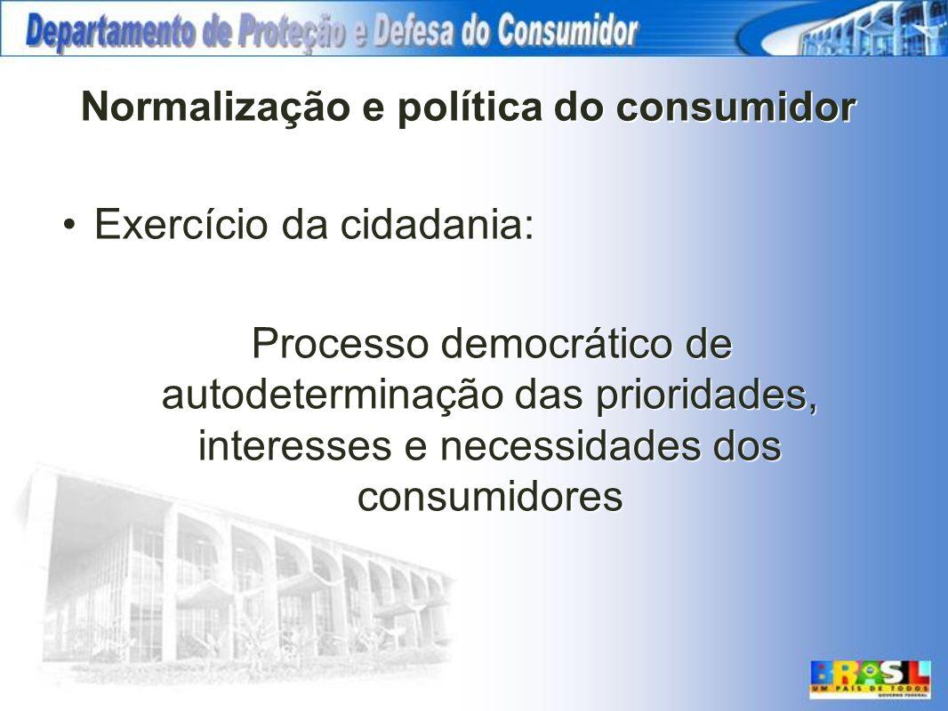 Normalização e política do consumidor Exercício da cidadania: Processo democrático de autodeterminação das prioridades, interesses e necessidades dos