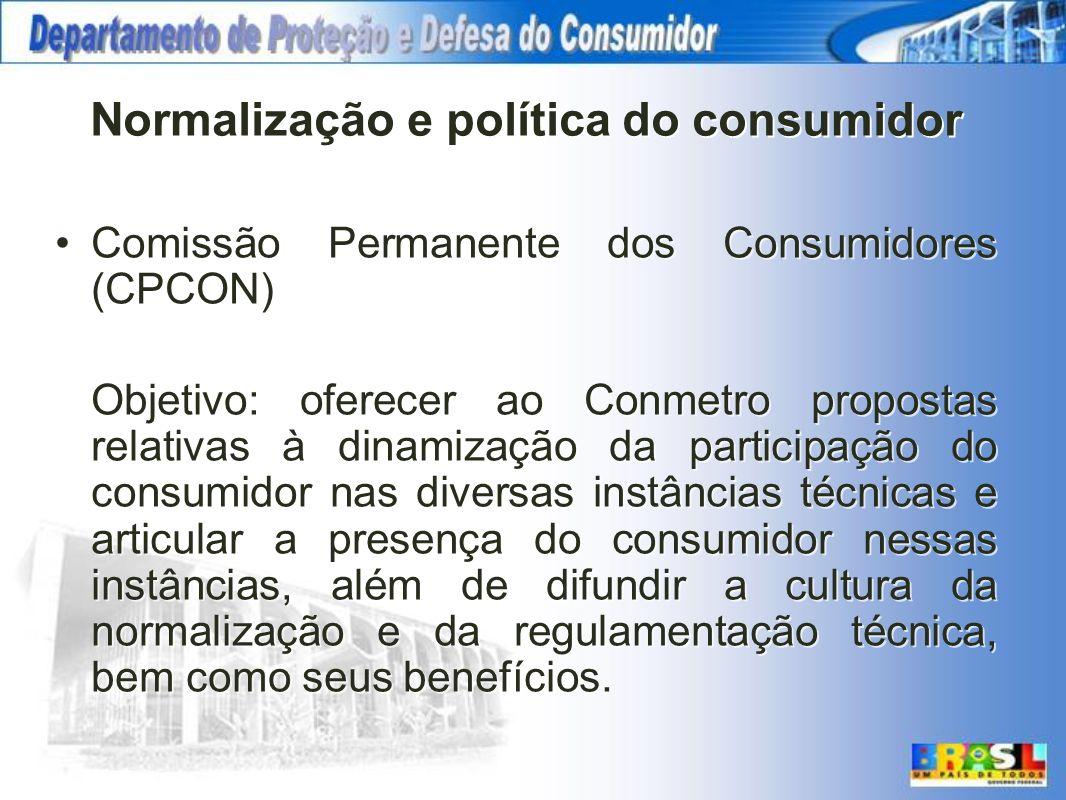 Normalização e política do consumidor Comissão Permanente dos Consumidores (CPCON) Objetivo: oferecer ao Conmetro propostas relativas à dinamização da