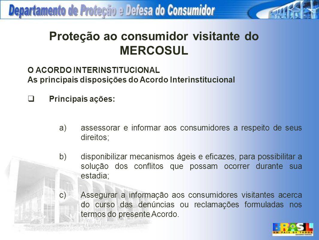 O ACORDO INTERINSTITUCIONAL As principais disposições do Acordo Interinstitucional Principais ações: a)assessorar e informar aos consumidores a respei