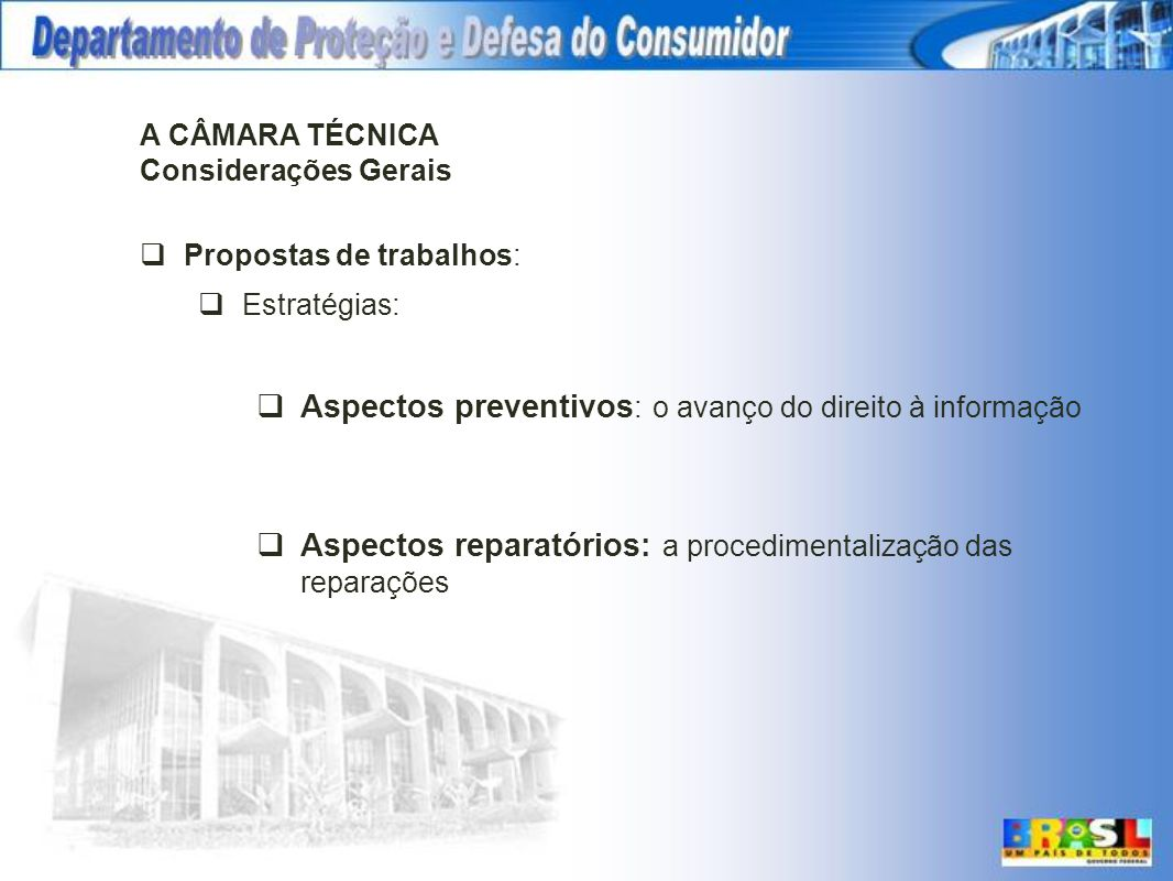 A CÂMARA TÉCNICA Considerações Gerais Propostas de trabalhos: Estratégias: Aspectos preventivos : o avanço do direito à informação Aspectos reparatóri