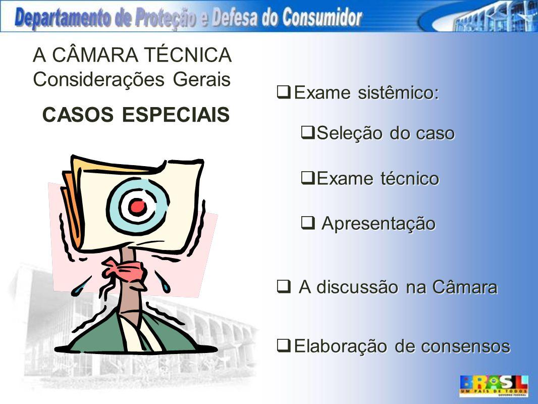A CÂMARA TÉCNICA Considerações Gerais Exame sistêmico: Seleção do caso Exame técnico Apresentação A discussão na Câmara Elaboração de consensos CASOS