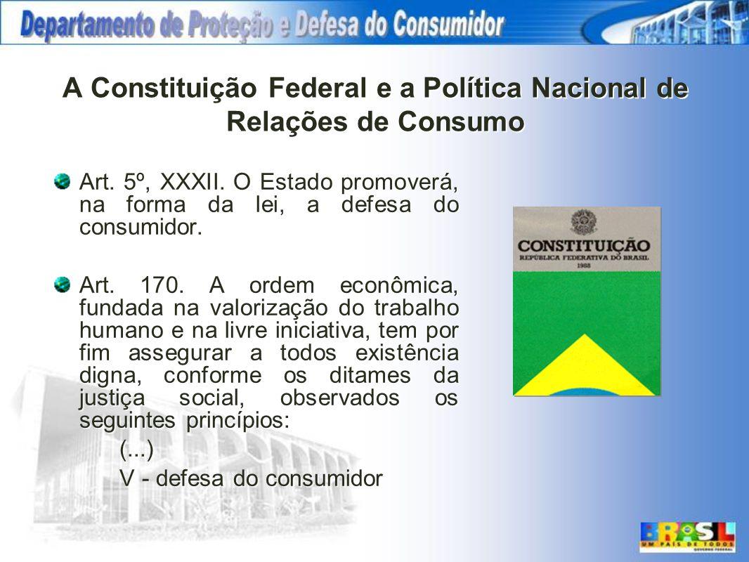 A Constituição Federal e a Política Nacional de Relações de Consumo Art. 5º, XXXII. O Estado promoverá, na forma da lei, a defesa do consumidor. Art.
