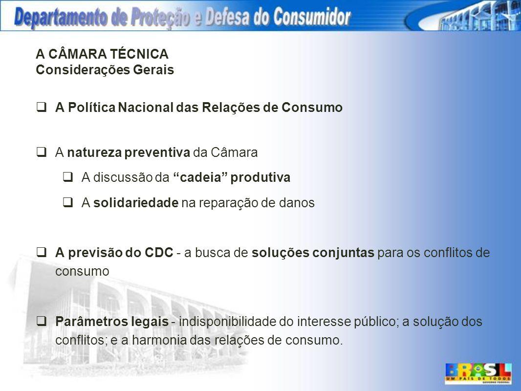 A CÂMARA TÉCNICA Considerações Gerais A Política Nacional das Relações de Consumo A natureza preventiva da Câmara A discussão da cadeia produtiva A so