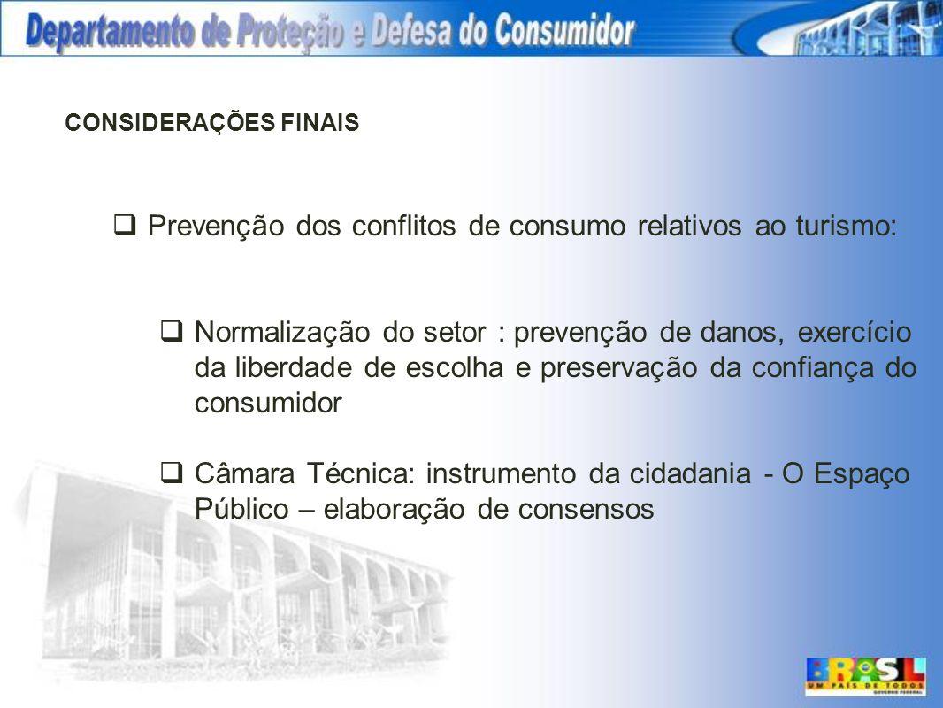 CONSIDERAÇÕES FINAIS Prevenção dos conflitos de consumo relativos ao turismo: Normalização do setor : prevenção de danos, exercício da liberdade de es