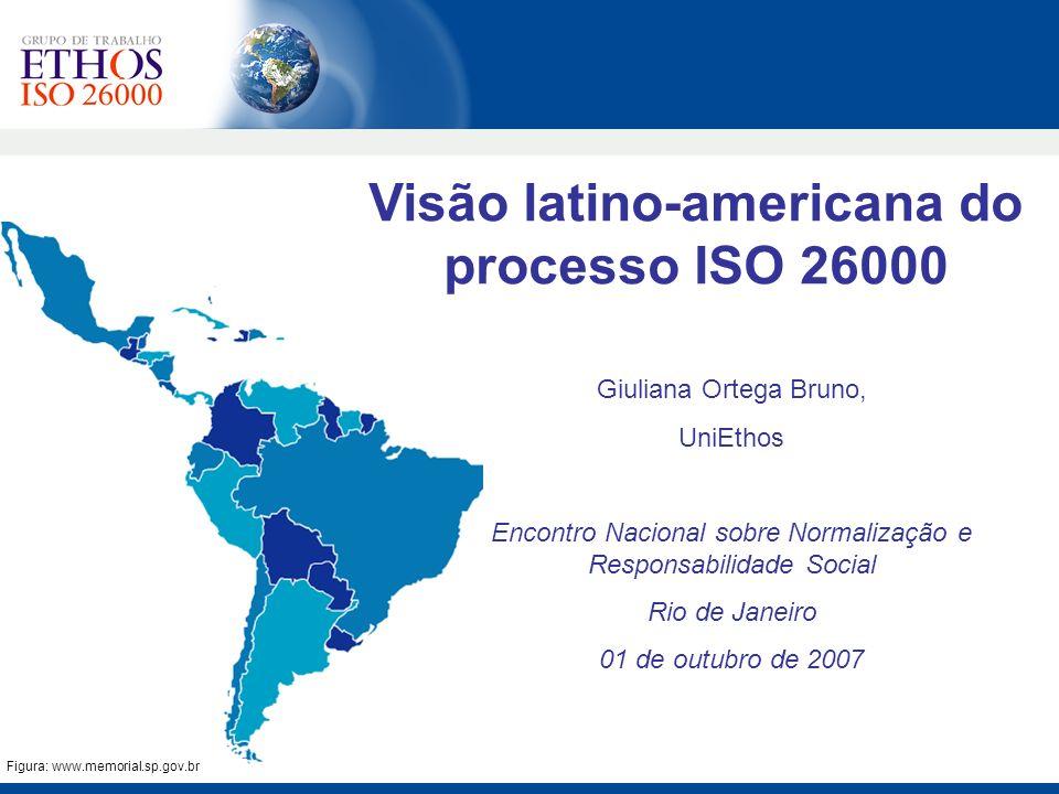 Comitê completo Representante da industria é membro do CAG 50 organizações participam das discussões no Chile Presença de 2 organizações internacionais atuantes no processo (Red Puentes e Red Interamericana) Co-organizadores de eventos da ISO (evento paralelo em Viena e VI Reunião do WG) Chile