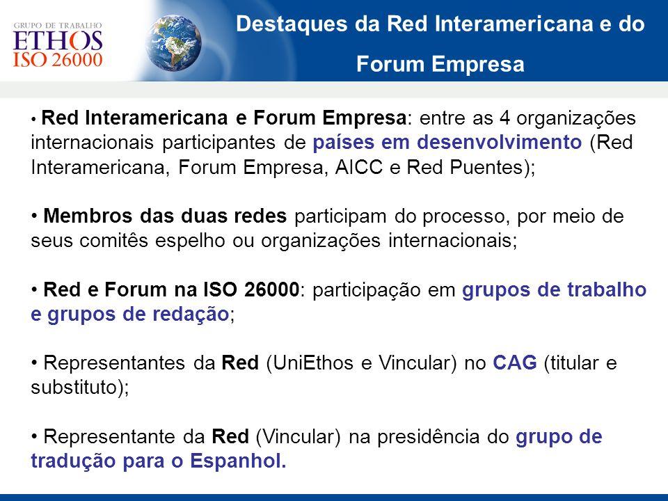 Destaques da Red Interamericana e do Forum Empresa Red Interamericana e Forum Empresa: entre as 4 organizações internacionais participantes de países