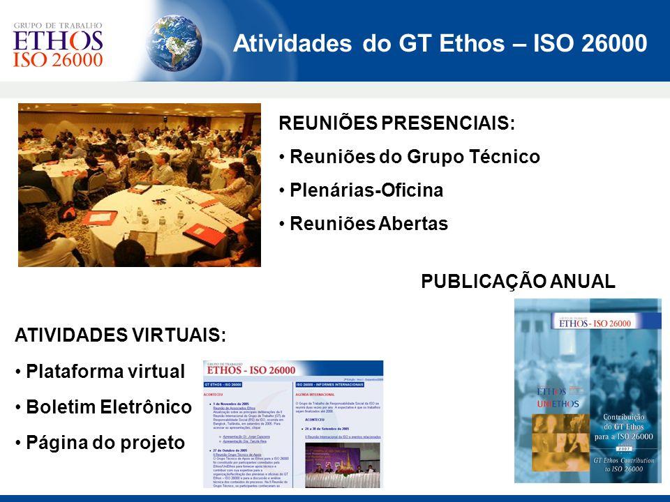 Atividades do GT Ethos – ISO 26000 REUNIÕES PRESENCIAIS: Reuniões do Grupo Técnico Plenárias-Oficina Reuniões Abertas PUBLICAÇÃO ANUAL ATIVIDADES VIRT