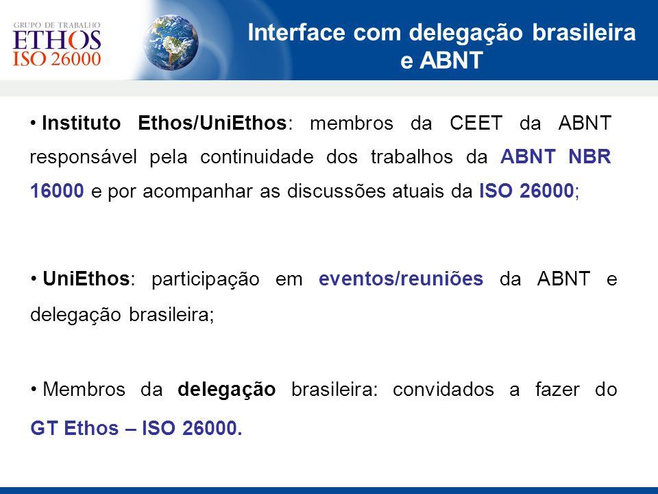 Instituto Ethos/UniEthos: membros da CEET da ABNT responsável pela continuidade dos trabalhos da ABNT NBR 16000 e por acompanhar as discussões atuais