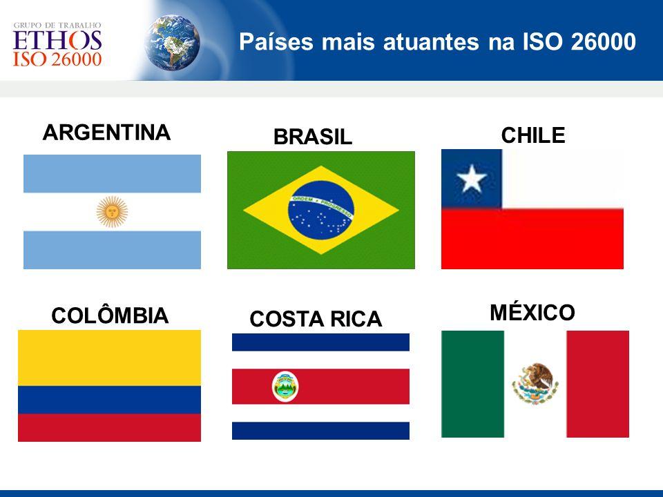Países mais atuantes na ISO 26000 ARGENTINA BRASIL CHILE COLÔMBIA COSTA RICA MÉXICO