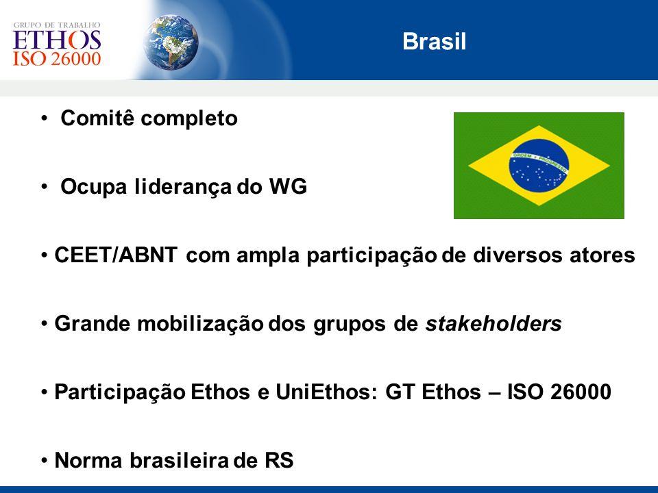Comitê completo Ocupa liderança do WG CEET/ABNT com ampla participação de diversos atores Grande mobilização dos grupos de stakeholders Participação E