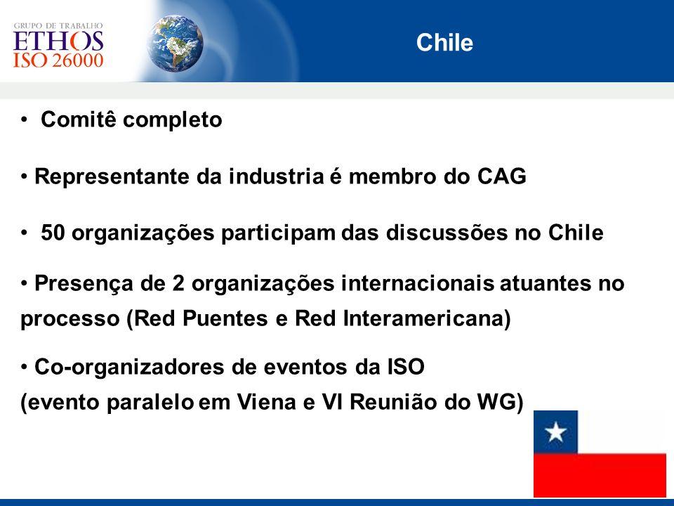 Comitê completo Representante da industria é membro do CAG 50 organizações participam das discussões no Chile Presença de 2 organizações internacionai