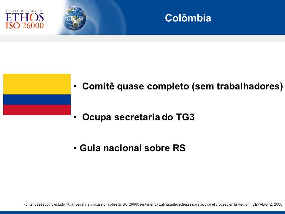 Fonte: baseado no estudo Avances en la discussión sobre la ISO 26000 en America Latina:antecedentes para apoyar el proceso en la Región, CEPAL/GTZ, 20