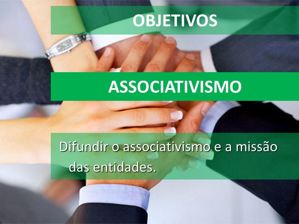 OBJETIVOS Difundir o associativismo e a missão das entidades. ASSOCIATIVISMO