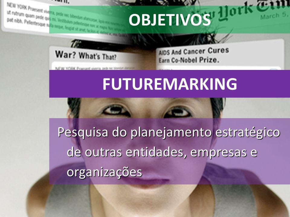 OBJETIVOS Pesquisa do planejamento estratégico de outras entidades, empresas e organizações FUTUREMARKING